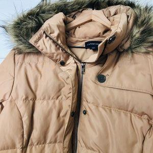 Lands' End Down Tan Puffer Coat XL Fur Hood Belt